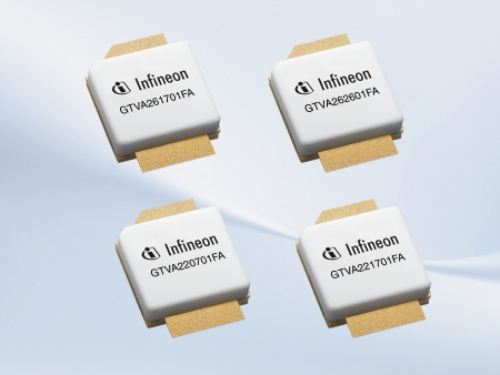 Infineon's new RF power transistors leverage the performance of GaN technology to achieve ten percent higher efficiency and five times the power density of the LDMOS transistors commonly used today.