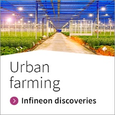 Infineon button for LED in urban farming