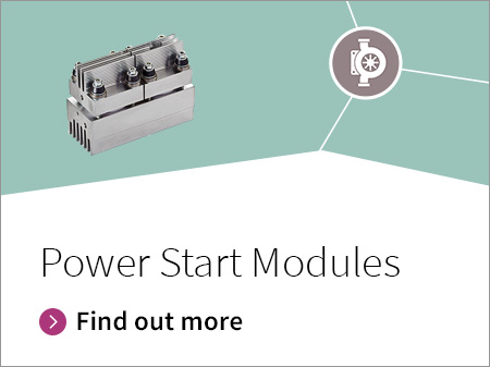 Main benefit of the new designed power start modules for soft-start applications is their high current capability in a compact design (LxWxH 134x55x100) and double side cooling for low thermal resistance.