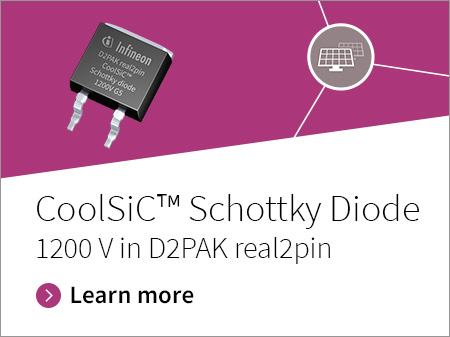 Promotion banner for CoolSiC Schottky Diodes 1200V in D2PAK real2pin packaging.