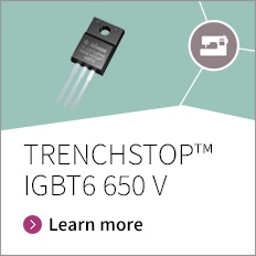 The TRENCHSTOP™ IGBT6 family of discrete devices is optimized for motor drives up to 1 kW which need power electronics with the lowest losses and best thermal performance. Offering up to 20% lower losses, short circuit rating and a higher blocking voltage at 650 V, TRENCHSTOP™ IGBT6 is a key contributor to robust.