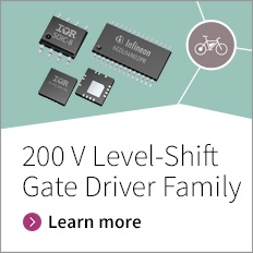 Infineon provides a comprehensive portfolio of 200 V level shift gate drivers which includes 3-phase, half-bridge, or high and low side drivers for low voltage (24 V, 36 V, and 48 V) and medium voltage (60 V, 80V, 100 V, and 120 V) motor control applications.