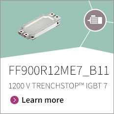 Promo banner for FF900R12ME7_B11 EconoDUAL™ 3 1200 V, 900 A dual TRENCHSTOP™ IGBT7 module with emitter controlled 7 diode, NTC and PressFIT contact technology