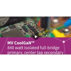 Infineon's latest evaluation board demonstrating the benefit of MV CoolGaN™ e-mode HEMT. A complete solution for telecom 840 watt full-bridge to center tap isoltated DC to DC converter with over 96% peak efficiency.