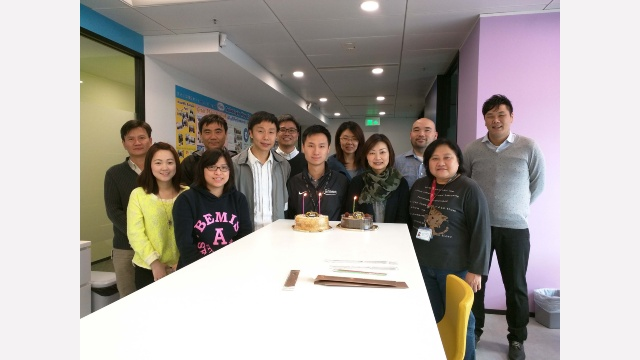 We organize a birthday party for every birthday star in Infineon Hong Kong.