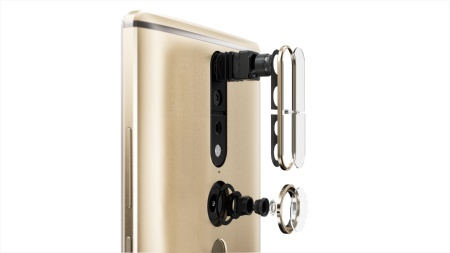 Schematic picture of Lenovo's new PHAB2 Pro smartphone – the 3D camera module is seen above, with the fisheye lens below (Photo: Lenovo)
