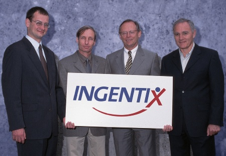 (from left to right) Dr. Jürgen Kuttruff, vice president and chief operating officer of business group Security & Chip Card ICs, Infineon Technologies AG; Dr. Yair Alpern, CEO, Ingentix; Jürgen Hammerschmitt, chief marketing officer, Ingentix; Dr. Boaz Eitan, President and CEO, Saifun Semiconductors