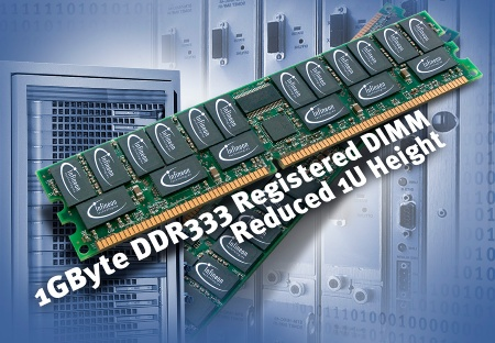Infineon Technologies presents 1GByte DDR333 Registred Reduced Height Memory Based on FBGA Chip Packages