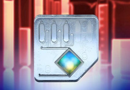 "The Flow-Thru-Chip? is a ""Mini-Lab"" on silicon. With a surface of only one square centimeter the chip can simultaneously analyze the reaction of up to 400 known genes to a specific substance. The chip is safely contained in a cartridge through which the substances to be analyzed are delivered to the chip. Flow-Thru Chip is a trademark of MetriGenix, Inc."