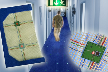 "Researchers from Infineon Technologies AG have discovered a way to make large textile surfaces such as carpeting or tent cloth ""intelligent"". This  sets new highlights for the monitoring of buildings, the structural control of buildings of all kinds and for use in the advertising industry. Woven  into fabrics, a self-organizing network of robust chips is able to monitor temperatures, pressures or vibrations as required."