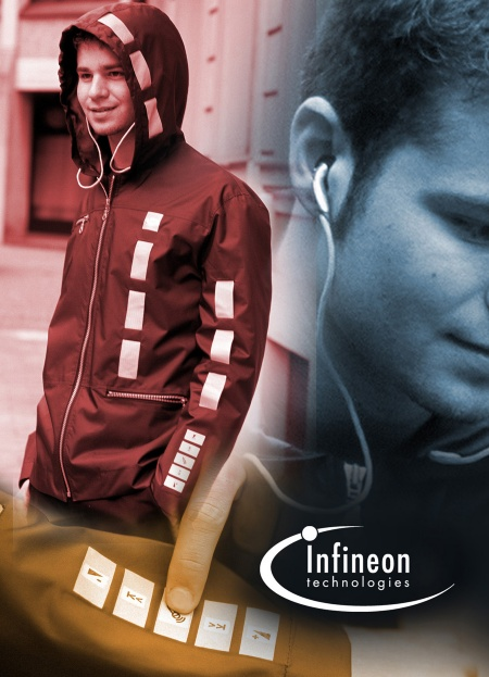 Infineon demonstrated the implementation of an audio modul into clothes and textile structures in a reliable and manufacturable way.