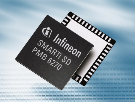 Infineon is the world`s first chipmaker to start volume shipments of single chip CMOS-based GSM/GPRS quad-band transceiver. The new SMARTi® SD is optimized for cost, size and power consumption.