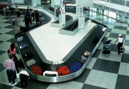 Baggage claim area at the airport.