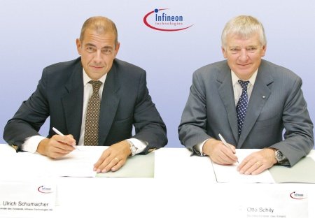 "On June 30, 2003, Minister Otto Schily (r.) of the German Federal Ministry  of the Interior (Bundesministerium des Inneren, BMI)  and Dr. Ulrich  Schumacher (l.), President and CEO of Infineon Technologies AG, signed the  ""Memorandum of Understanding"" to initiate a far-ranging security cooperation between BMI and Infineon in Munich. The cooperation aims at establishing a sound technology basis for an enhanced security level in Information Technology (IT) systems that are used in the Civil Service, in private companies and households."