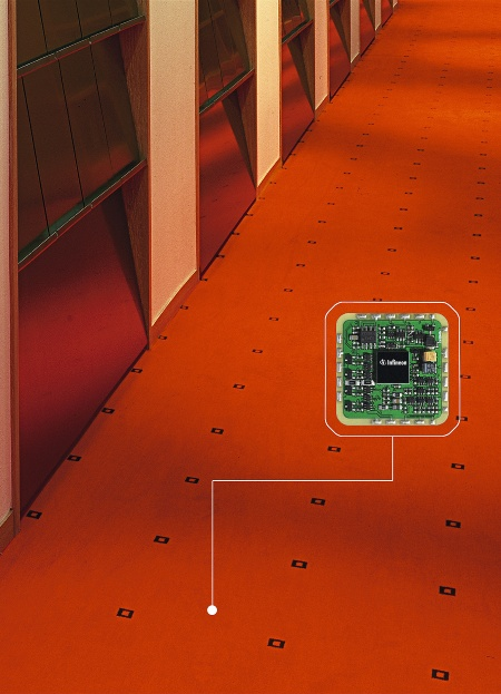 "Vorwerk Teppichwerke and Infineon are revolutionising the wall-to-wall carpet - The prototype of the ""Thinking Carpet"" celebrates its premiere at the Orgatec 2004"