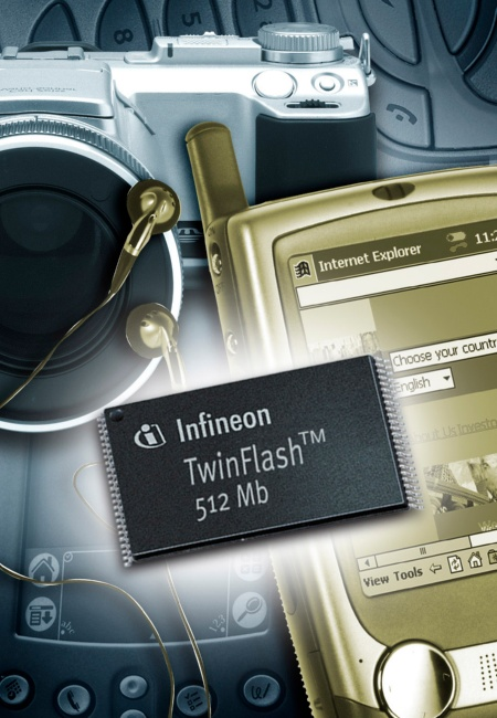 Infineon Technologies launched the world's first NAND compatible flash chip  based on TwinFlash technology. The 512Mbit Twin-NAND is realized in Saifun  NROM(r) technology which stores two (Twin) locally separated bits in one transistor cell.