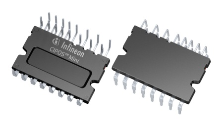 Infineon's new CIPOS™ Mini IM5x series offer low on-resistance of 310 mΩ and a current rating of 10 A at 25°C, with a breakdown voltage of 600 V. They are available in either full-bridge (IM512) or 3-phase (IM513) inverter configuration.