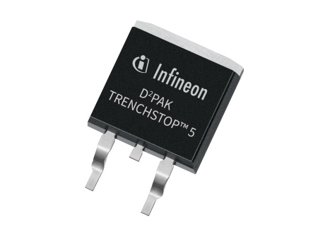 Infineon's new TRENCHSTOP 5 650 V series combines a 40 A IGBT and a full rated 40 A diode in a surface mounting D2PAK. The new family offers a higher rating than any other product on the market, with other co-packed solutions delivering only 75 percent of the power.