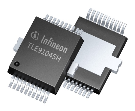 The Infineon TLE9104SH is the first smart four-channel low-side switch for currents up to 5A DC in 12V systems. It is designed to help reduce CO2 emissions in cars with an internal combustion engine.