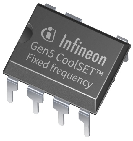 The fixed frequency 700 V/800 V CoolSET™ 5th generation combines a PWM controller IC with the latest 700 V and 800 V CoolMOS™ P7 MOSFETs in a single package. The single platform supports isolated and non-isolated flyback topologies.
