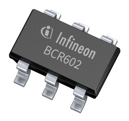 The linear LED controller ICs BCR601 and BCR602 operate with an external driver transistor, either an NPN bipolar transistors or an N-channel MOSFET to support a wide LED current and power range.