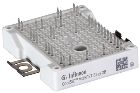 The new CoolSiC Easy 2B widens the power range of modules in half-bridge topology with an on-resistance (RDS(ON)) per switch to only 6 mΩ. This is a benchmark performance for devices in Easy 2B housing.