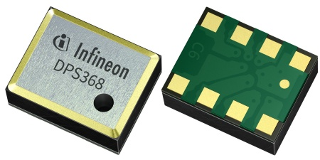 The XENSIV™ DPS368 barometric pressure sensor features an ultra-high precision of ±2 cm and a low current consumption. Its 8-pin LGA package (2.0 mm x 2.5 mm x 1.1 mm) saves up to 80 percent space compared to other waterproof sensors
