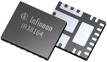 With its integrated SVID, IR38164 offers 50 percent space saving compared to traditional externally powered digital controller solutions. Infineon's voltage regulator features a 5 mm x 7 mm Cu-clip package and OptiMOS™ 5 with the lowest RDS(on), FOM (figure of merit), and QRR attributes in the market.