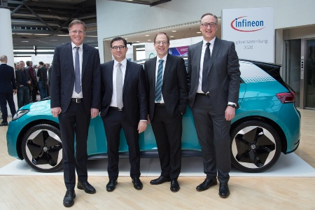 The Executive Board of Infineon Technologies AG at the Annual General Meeting 2020: Jochen Hanebeck, Dr. Sven Schneider, Dr. Reinhard Ploss, Dr. Helmut Gassel (from left to right).