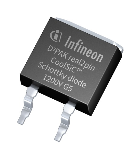 The new D²PAK real 2-pin package of the Schottky diode 1200 V eliminates the middle pin to offer 4.7 mm creepage and 4.4 mm clearance distance. Compared to a standard D²PAK package this clearly enhances safety margins.