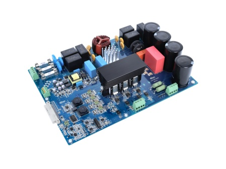 The evaluation board was developed to support in first steps designing servo drive applications with the CoolSiC™ MOSFET 1200 V in discrete packages. It integrates a 3-phase rectifier EMI filter, current sensors, and protection features as well as thermal management and heatsink. All relevant analog and control signals are easily accessible with test pads.