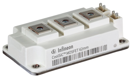 The 62 mm module features Infineon's CoolSiC™ MOSFET 1200 V chip set, which enable a high current density. It comes in variants of 6 mΩ/250 A, 3 mΩ/375 A, and 2 mΩ/500 A respectively.