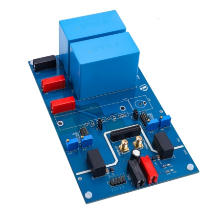 The motherboard of the evaluation platform was designed for a maximum voltage of 800 V and a maximum pulsed current of 130 A. For measuring at higher temperatures of up to 175°C, the heatsink can be used together with a heating element.