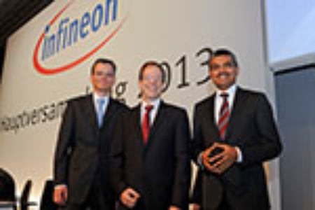Management Board of the Infineon Technlogies AG (left to right): Dominik Asam, CFO; Dr. Reinhard Ploss, CEO; Arunjai Mittal, Member of the Management Board