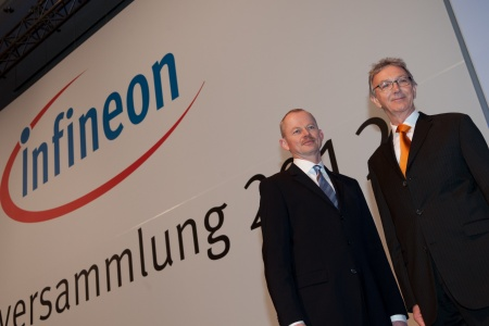 Peter Bauer (left), Chief Executive Officer of Infineon Technologies AG, and Wolfgang Mayrhuber (right), Supervisory Board Chairman of Infineon Technologies AG, at the Infineon Annual General Meeting 2012 in Munich, Germany, on March 8, 2012.