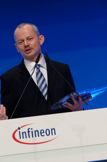 Peter Bauer, Chief Executive Officer at the Annual General Meeting 2012 of Infineon Technologies AG at the ICM (Internationales Congress Center München) in Munich/Germany on March 8, 2012.