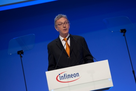 Wolfgang Mayrhuber, Supervisory Board Chairman of Infineon Technologies AG, at the Infineon Annual General Meeting 2012 in Munich, Germany, on March 8, 2012.