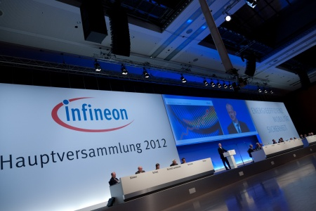 Annual General Meeting 2012 of Infineon Technologies AG at the ICM (Internationales Congress Center München) in Munich, Germany, on March 8, 2012.