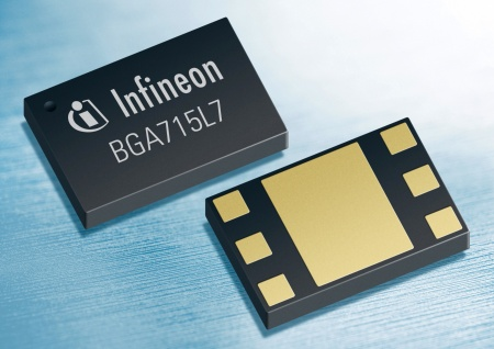 The BGA715L7 of Infineon is a high-sensitivity LNA (Low Noise Amplifier) for GPS applications. It offers a noise figure of only 0.6 dB and shows a high gain of 20 dB.
