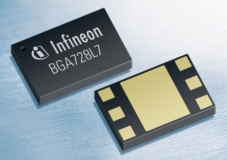 With only 2 mm x 1.3 mm x 0.4 mm in size Infineon's BGA728L7 is one of the industry's smallest broadband LNAs for portable and mobile TV applications. Additionally,  it is the first mobile TV LNA worldwide to support 1.8V, 2.8V and 3.3V operations. It is optimized for a wide frequency range covering VHFIII, UHF and L bands, and offers dual modes (high-gain mode and low gain mode).