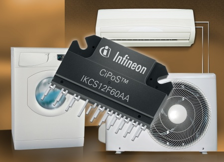 CiPoS(tm) (Control Integrated Power System) modules are designed to enable more energy-efficient operation of such consumer appliances as washing machines and air conditioners. The size of CiPoS module in the photo is 30.2mm x 50.4mm.