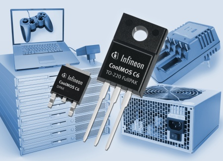 With the 600V CoolMOS™ C6 series, energy conversion applications such as PFC (Power Factor Correction) or PWM (Pulse Width Modulation) stages can be made significantly more energy efficient. The C6 technology offers ultra-low area specific on-resistance (for example, only 99mOhm in a TO-220 package), and reduced capacitive switching losses while offering easy control of the switching behavior as well as high body diode ruggedness.