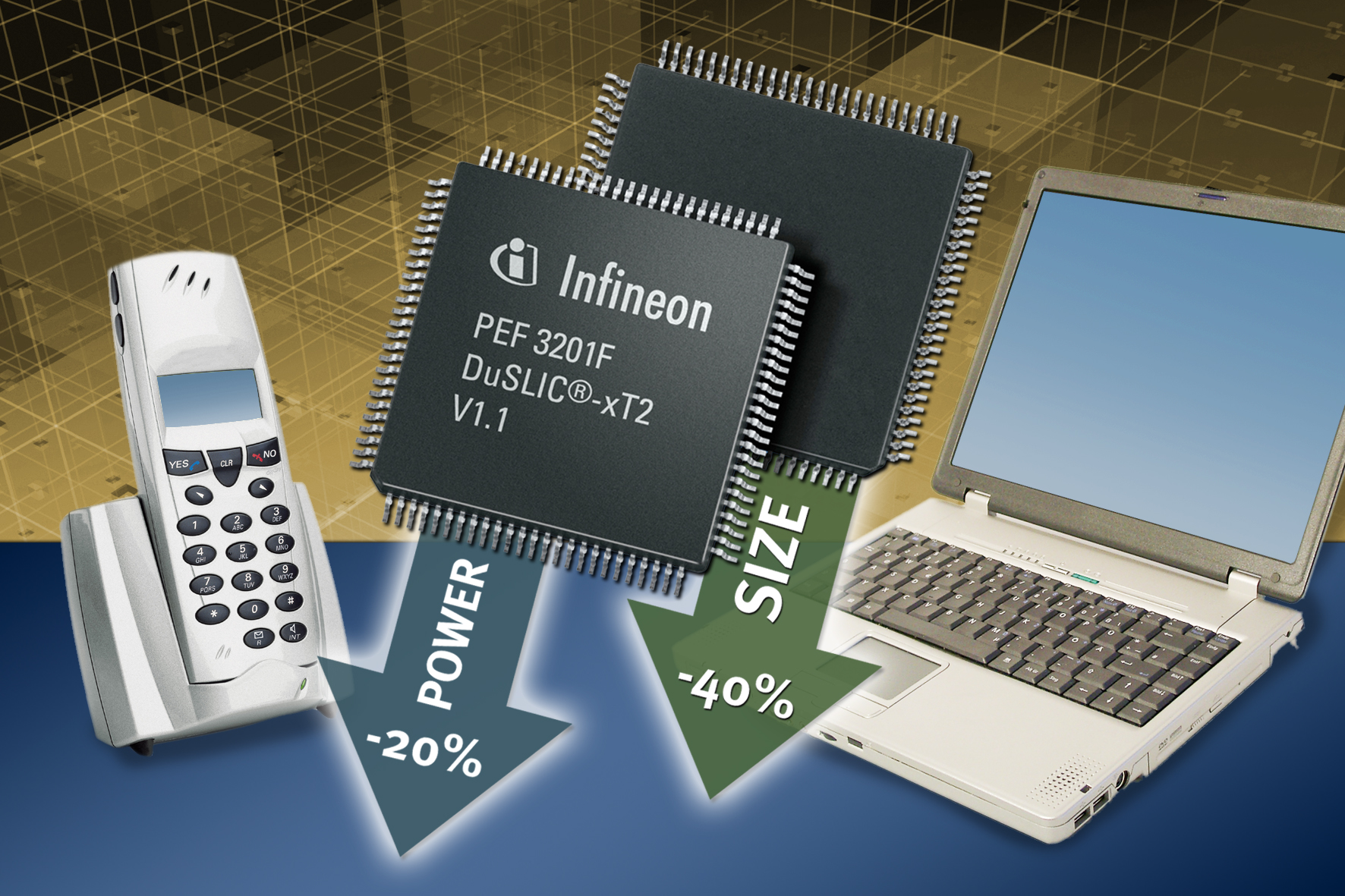 Infineon Introduces Low Power Codec Slic Single Chip For Voice Ic Chips Laptop Programmable Integrated Circuit Duslic Xt2