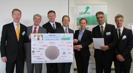 From left to right: Prof. Wolf-Dieter Lukas, department head at the German Federal Ministry of Education and Research (BMBF); Dr. Andreas Wild, Executive Director ENIAC Joint Undertaking; Helmut Warnecke, Managing Director Infineon Technologies Dresden GmbH; Dr. Reinhard Ploss, CEO of Infineon Technologies AG; Sabine von Schorlemer, Saxon State Minister for Higher Education, Research and the Arts; Pantelis Haidas, Managing Director Infineon Technologies Dresden GmbH; Dr. Oliver Pyper, Project Leader eRamp, Infineon Technologies Dresden GmbH