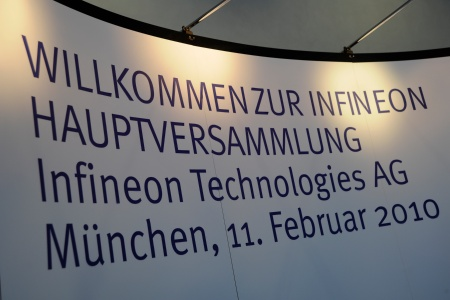 Annual General Meeting 2010 of Infineon Technologies AG at the ICM (Internationales Congress Center München) in Munich/Germany on February 11, 2010.