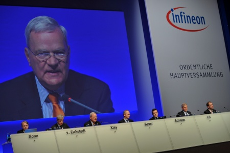 Max Dietrich Kley was appointed Chairman of the Supervisory Board of Infineon Technologies AG on August 28, 2002. His mandate terminates at the end of Infineon's Annual General Meeting 2010 on February 11, 2010. The photo shows him at the Annual General Meeting 2010 of Infineon Technologies AG on February 11, 2010 in Munich, Germany.