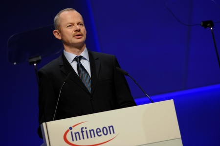 Infineon Technologies offers innovative technologies addressing three central challenges to modern society: energy efficiency, communications, and security. The photo shows Peter Bauer, Chief Executive Officer of Infineon Technologies AG, at the Infineon Annual General Meeting on February 11, 2010 in Munich, Germany.