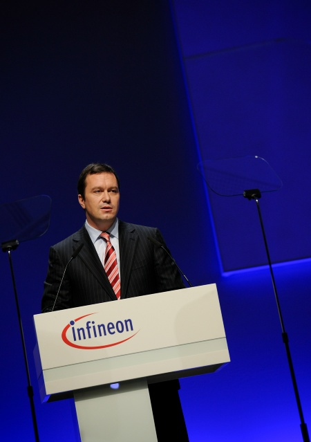 Infineon Technologies offers innovative technologies addressing three central challenges to modern society: energy efficiency, communications, and security. The photo shows Dr. Marco Schröter, Member of the Management Board and CFO of Infineon Technologies AG, at the Infineon Annual General Meeting on February 11, 2010 in Munich, Germany.