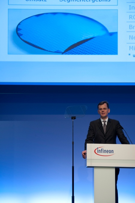 Dominik Asam, Member of the Managing Board and Chief Financial Officer, at the Infineon Annual General Meeting on February 17, 2011 in Munich, Germany.