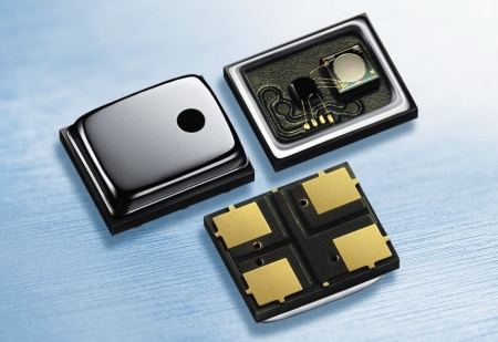"The  ""miniature"" silicon MEMS microphone of Infineon is approximately one-half the size and operates on just one-third the power of conventional microphones. It is designed for use in consumer and computer communications devices, in medical systems, such as hearing aids, and hands-free talking facilities in cars.The picture shows the silicon microphone (left), its rearside (below) and its interior view without cap (right).<br><br>Das MEMS-Silizium-Mikrophon von Infineon ist nur etwa halb so groß ist wie herkömmliche Mikrophone, weist jedoch deren akustische und elektrische Eigenschaften auf. Geeignet ist es für Handys und Headsets, Notebooks, Medizintechnik (z.B. Hörgeräte) und Freisprecheinrichtungen in Autos.Das Bild zeigt das Silizium-Mikrophon (links), von unten (unten) und eine Innenansicht ohne Deckel (rechts)."